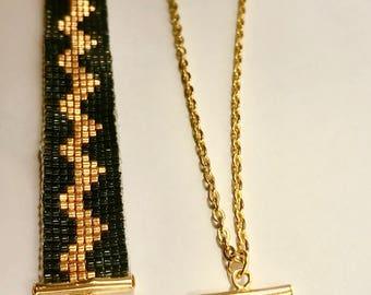 Black/gold bracelet and necklace set