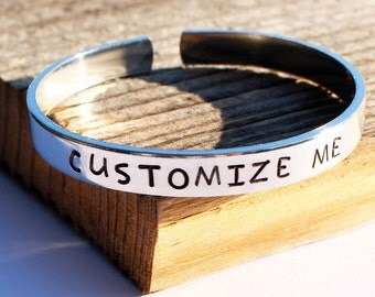 Custom cuff bracelet Hand stamped aluminum bracelet Custom bracelet Personalized bracelet Personalized stamped cuff Custom Quote