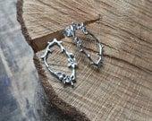 Sterling silver flower earrings, twig earrings, botanical earrings, handmade earrings, flower studs, stud earrings