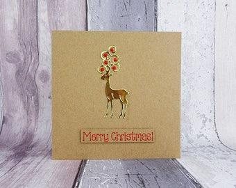 Golden Reindeer Christmas card, Handmade Merry Christmas card, Christmas baubles in antlers, Festive red and gold, Custom message