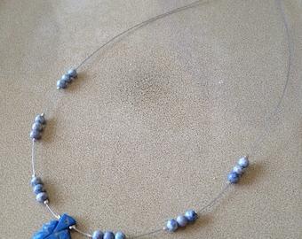 Lapis lazuli and sodalite stone leaf necklace