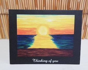 Set of six hand drawn Hawaiian sunset greeting card