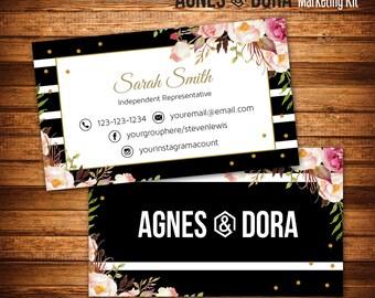 Agnes and Dora Business Cards, Boho Marketing Kit, Fast Free Personalization,Independent Representative, Black Stripes, Business Card V25202