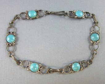 Vintage Turquoise Link Bracelet 1940's Mexico Sterling Silver 7 3/4 Inches Long 4.8 Grams