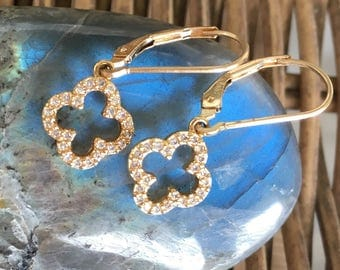 four leaf topaz and gold earrings