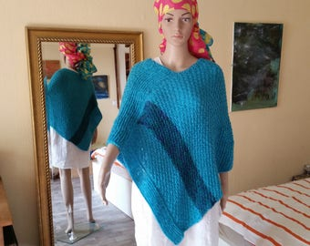 "SALE!!!!   PONCHO ""By the sea"", Knitted poncho, Bohemianstyle, Holidayponcho, Beachponcho, Woolponcho, Festivalponcho"