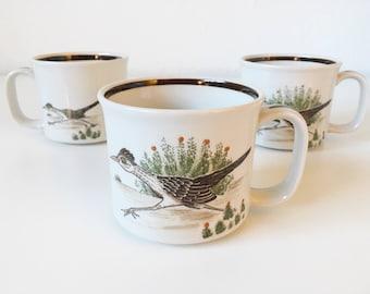 Vintage Hand Painted Roadrunner Bird Desert Cactus Mugs + Set of 3 + Nature Animal Illustration + Boho Kitchen + Southwest Decor Coffee Cup