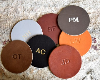 Custom Leather Circle Coasters - Set of 4. Monogram Coaster Set. Personalized Coasters. Multiple Colors, Gold & Silver Options Available.