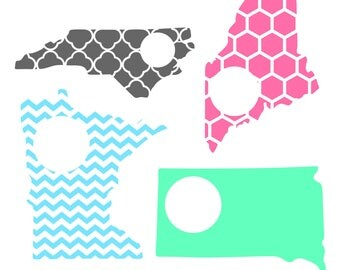 State Decal, Monogrammed State Decal, Custom State Car Decal, Personalized State Cup Decal