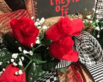 Derby Wreath, Horse Wreath, KY Derby Wreath, Burlap Wreath, Derby Decor, Front Door Wreath, Designer Derby, Horse, Derby, Ready to Ship