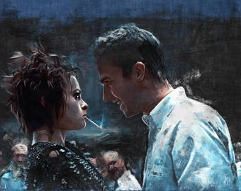 An Illustration Of Marla Singer From Cult Classic Movie Fight Club Being Confronted By Edward Norton's Narrator Character