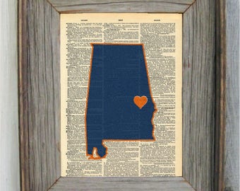 Auburn Print | Auburn Art, Alabama Art, Dictionary Print, Dictionary Art, Auburn, War Eagle