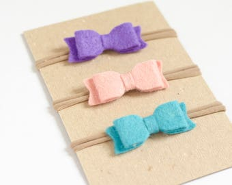 Felt Bow Headband, Baby Headband Set, Baby Girl Bows, Wool Blend Felt Headbands, Pink Felt Bow, Green Felt Bow, Blue Felt Bow, Custom Bows