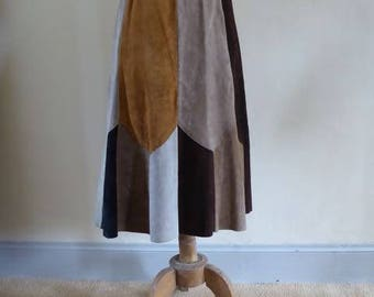 Suede panelled skirt, mid-calf length, 1970's, funky, A line