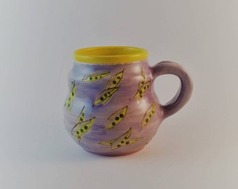 Pottery mug, purple and yellow with carved pea pods, gift under 25