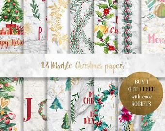 Marble digital paper, Marble Christmas digital paper, Christmas background, marble paper, gold marble paper, marble christmas scrapbooking