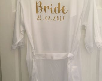 White Lingerie, Wedding night, honeymoon, bride lingerie, underwear, sleepwear, satin, lace short jacket, Personalised, robe, gown, kimono