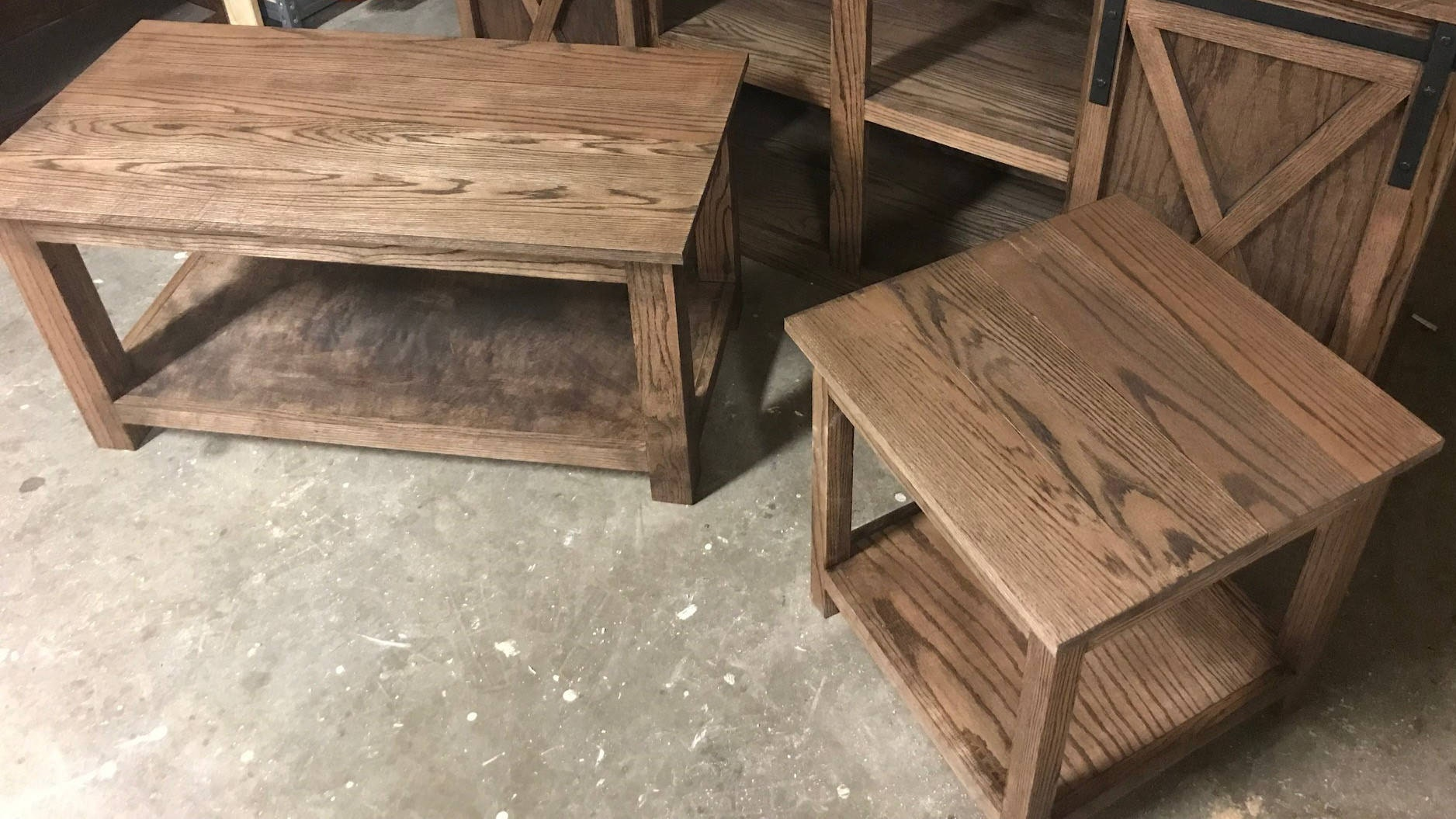 Red Oak Coffee Table and End Table Set