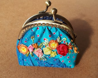Bright Blue Floral Pouch