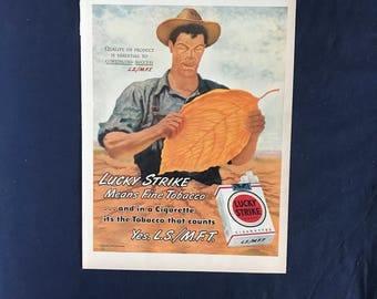Lucky Strike Ad, Lucky Strike Means Fine Tobacco