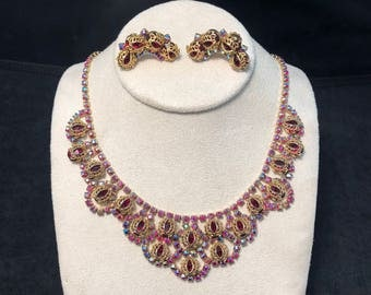 Gorgeous Red Aurora Borealis and Red Rhinestone Necklace and Clip Earring Set