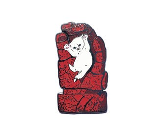 Hellboy inspired 'He's Got a Thing for Cats' hard enamel lapel pin badge
