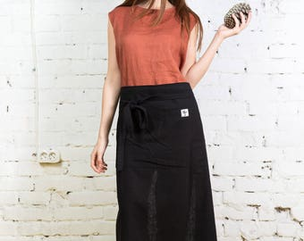Cross back apron,linen pinafore apron, japanese linen apron,japanese apron,linen pinafore,long linen apron, gift pinafore,apron dress/LA0008