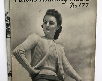 Lot of 2 Vintage 1940s Patons Australia Knitting Pattern Books No.s 176 and 177