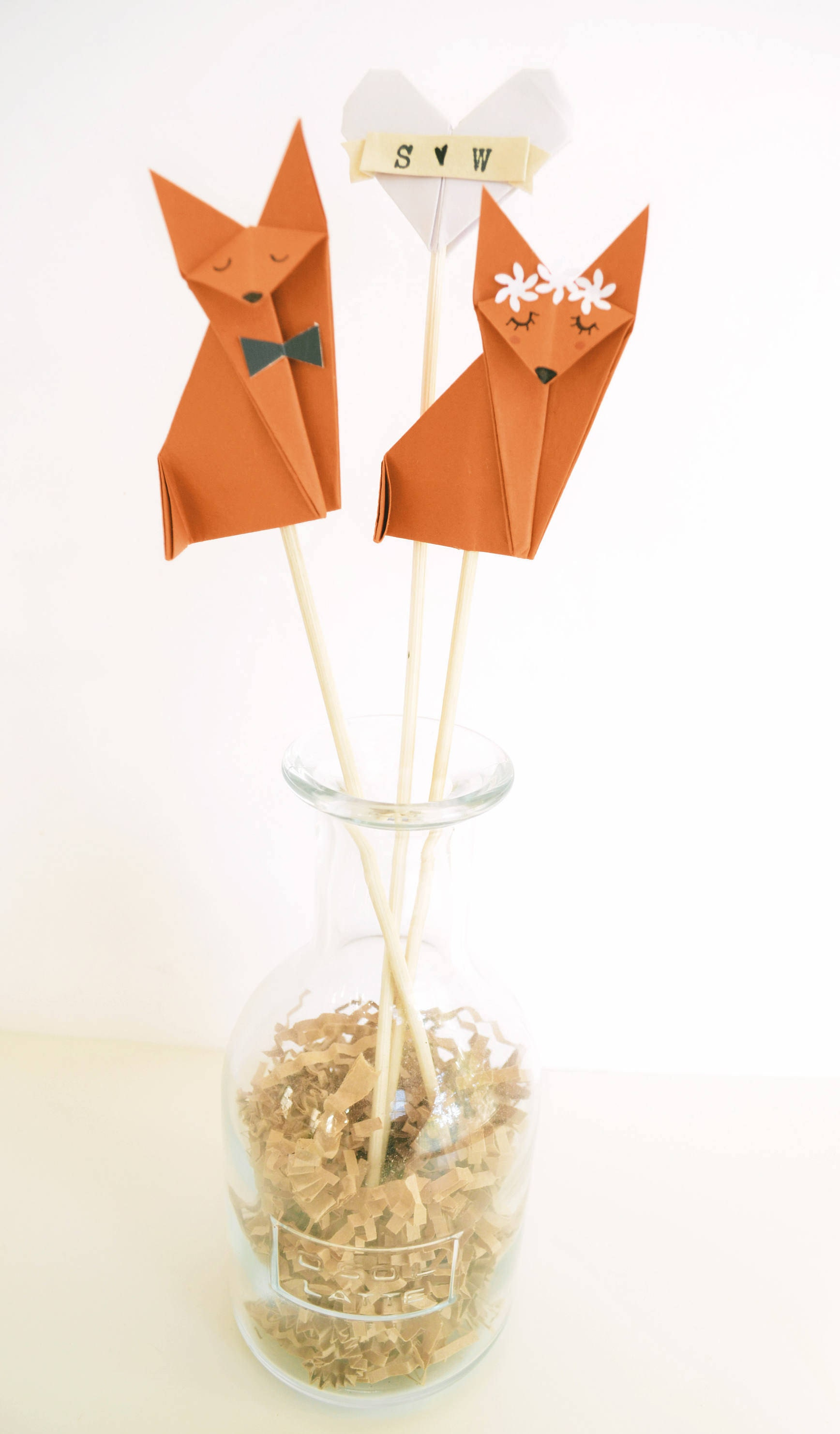 Fox Wedding Cake Topper Foxes Origami