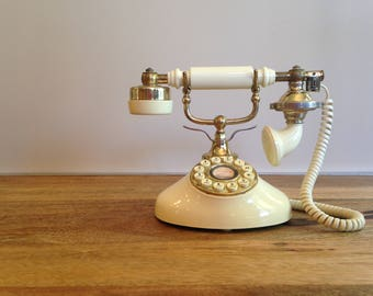 Vintage Teleconcept Beige/Gold Push Button Rotary Style Regal French Telephone Princess Phone Retro