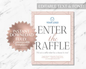 Rose Gold and Blush Pink Hair Salon and Monat Business Enter the Raffle Sign INSTANT Template
