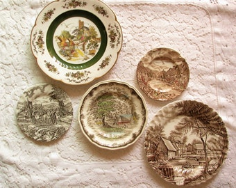 wall plates wall decor wall hanging mismatched plate set brown scenic plates wedding shower farmhouse decor - Decorative Wall Plates