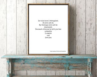 Jane Austen Quote Art, Pride and Prejudice Print, Love Quote, In vain I have struggled Book Quote Print, Jane Austen Wall Art, Mr Darcy Art