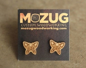 Wooden Butterfly earrings - lasercut - maple