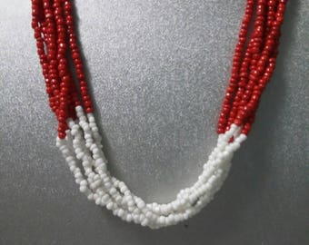 Red and white multi strand glass beaded vintage necklace