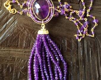 Amethyst Tassel Necklace in .925 Sterling Silver