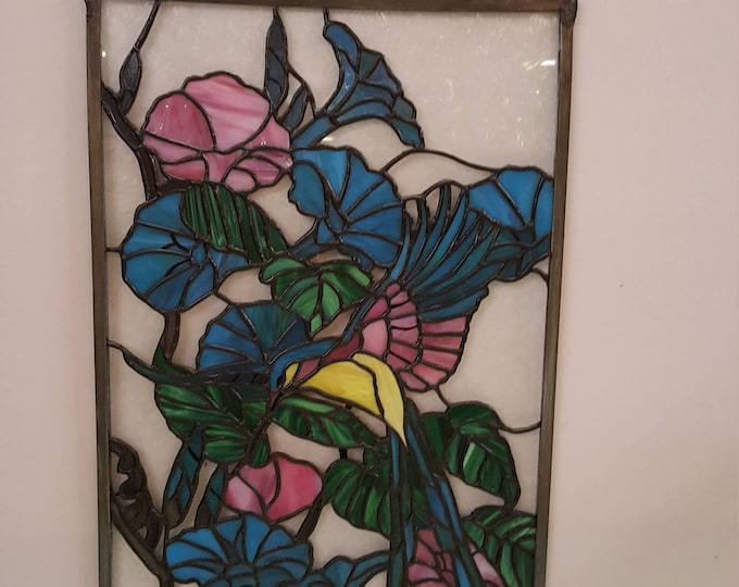 Stained Leaded Glass Panel Window Vintage - Hummingbird Morning Glory