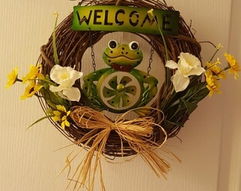 Daffodils with Welcome Frog Wreath, Sunflowers with Frog Wreath , Welcome Frog Wreath