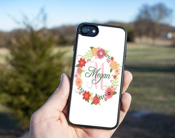 Custom Monogram Gift - Monogrammed Gift - Circle Monogram - Cell Phone Cover - Initials iPhone Case - Rubber Phone Case - Custom Photo Case