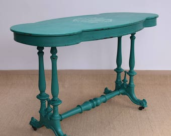 Antique Side Table, French Side Table, Victorian Side Table, Pretty Side Table, Upcycled Furniture, Shabby Chic Table, Turquoise Side Table