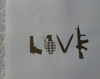 Love Weapons Pistol/Grenade/Knife/Gun Vinyl Decal #1-032