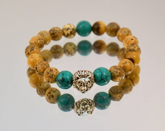 Natural amber  bracelet with turquoise