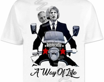 Theresa May Jeremy Corbyn Quadrophenia T shirt / shirts . vespa . lambretta mods northern soul scooter scene funny novelty
