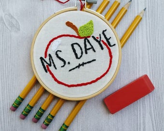 Personalized Apple For Teacher Embroidery