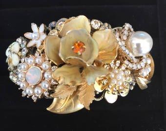 Statement Cuff Bracelet, Upcycled Bracelet, Repurposed Bracelet, Unique, Handmade, Romantic, Vintage Inspired Cuff Bracelet
