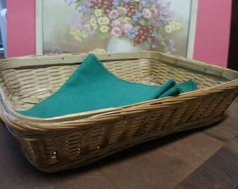 Vintage Woven Wicker Bread Tray / Bread Basket