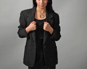 Liz CLAIBORNE 90s Suit Women Vintage 1990s Couture Splatter PAINT Skirt/Jacket SUIT Size M