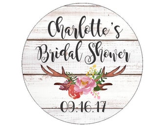 Bridal Shower Favor Stickers Wedding Date Labels Tags Wedding Shower Floral Antlers Flower Branch Flowers Watercolor Rustic White Wood