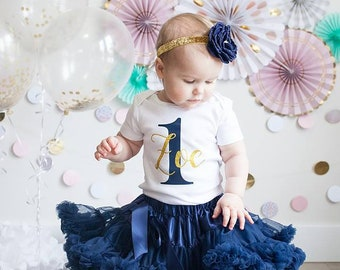 1st Birthday Outfit Navy & Gold Silver Girl One Tutu Pettiskirt Outfit Cake Smash Shirt Onesie Bodysuit Headband Dark Blue