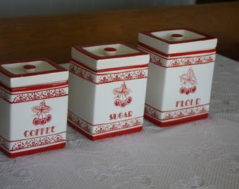 Vintage, Red and White, Cherry Canister Set (Set of 3)